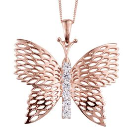 J Francis - ION Plated 18K Rose Gold Bond (Rnd) Butterfly Pendant With Chain Made with SWAROVSKI ZIRCONIA