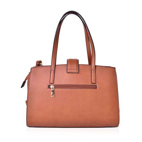 Tan Colour Tote Bag (Size 34x24.5x13 Cm) with External Zipper Pocket and Adjustable Shoulder Strap