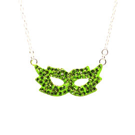 Green Austrian Crystal Pendant with Chain in Sterling Silver