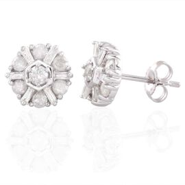 9K W Gold SGL Certified Diamond (Rnd) (I3/ G-H) Stud Earrings (with Push Back) 1.000 Ct.