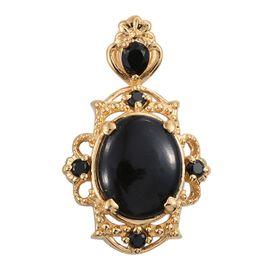 Black Jade (Ovl 2.55 Ct), Boi Ploi Black Spinel Pendant in 14K Gold Overlay Sterling Silver 3.000 Ct.