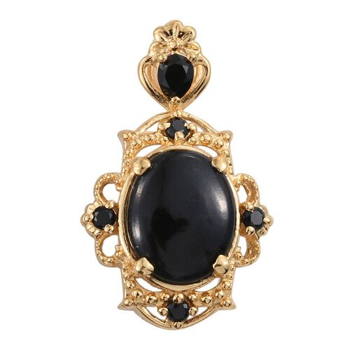 Black Jade (Ovl 2.55 Ct), Boi Ploi Black Spinel Pendant in 14K Gold Overlay Sterling Silver 3.000 Ct.