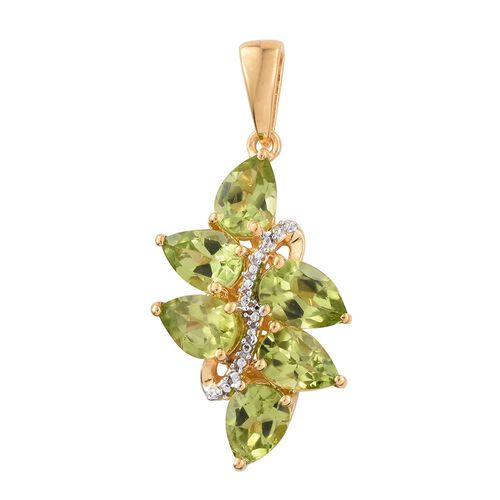 Hebei Peridot (Pear) Pendant in 14K Gold Overlay Sterling Silver 4.000 Ct.
