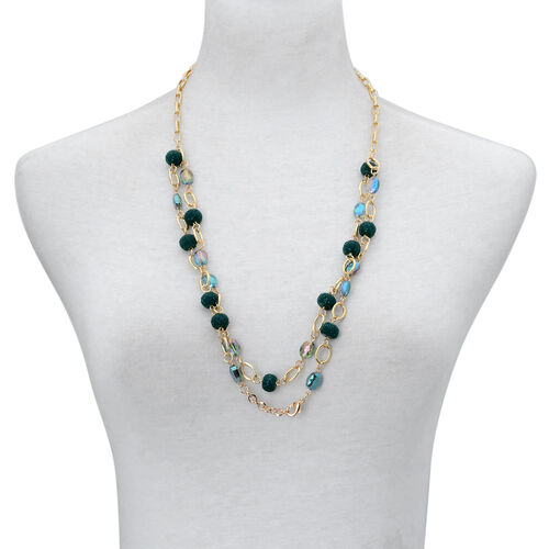 Blue Cut Glass Station Necklace (Size 28) and Earrings in Gold Tone