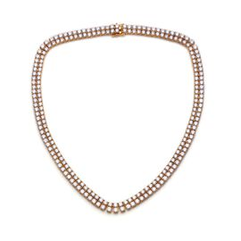 J Francis - 14K Gold Overlay Sterling Silver (Rnd) Necklace (Size 20) Made with SWAROVSKI ZIRCONIA