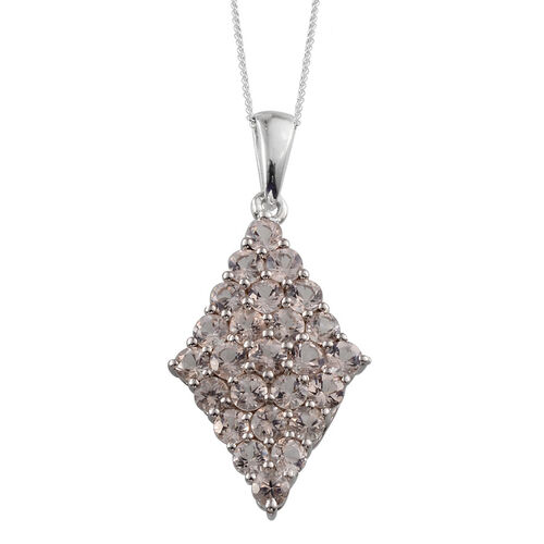Marropino Morganite (Rnd) Cluster Pendant With Chain in Platinum Overlay Sterling Silver 2.250 Ct.