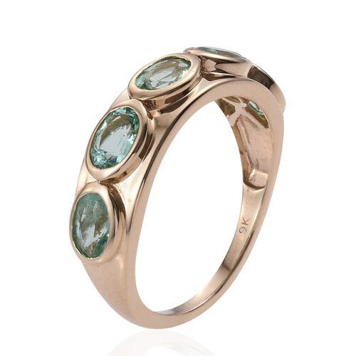 9K Y Gold Boyaca Colombian Emerald (Ovl) 5 Stone Ring 2.150 Ct.