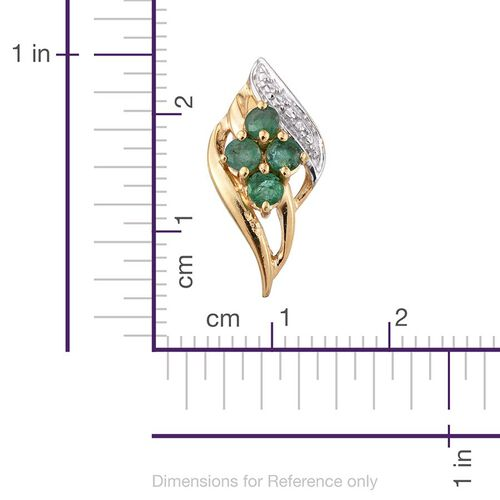 Brazilian Emerald (Rnd) Stud Earrings (with Push Back) in 14K Gold Overlay Sterling Silver 0.530 Ct.