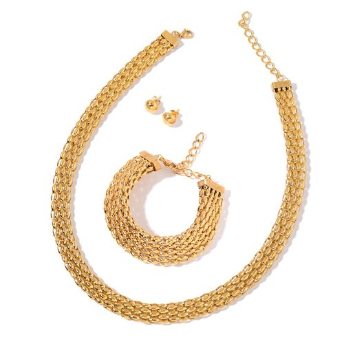 Flat Mesh Necklace (Size 18 with 2 inch Extender), Adjustable Bracelet (Size 8 with 2 inch Extender) and Ball Stud Earrings (with Push Back) in ION Plated Yellow Gold Tone