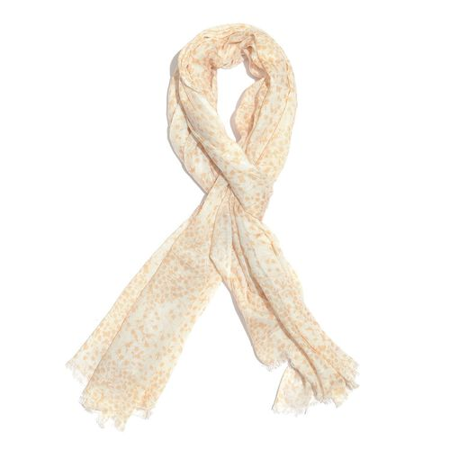 Peach and White Colour Floral Printed Scarf (Size 180x70 Cm)