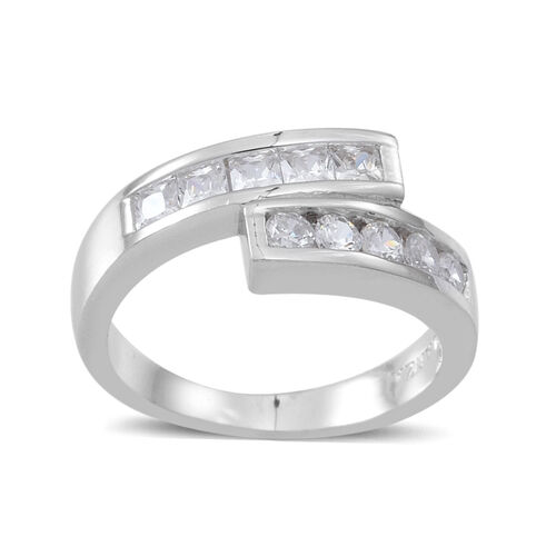ELANZA AAA Simulated White Diamond (Rnd) Crossover Ring in Rhodium Plated Sterling Silver