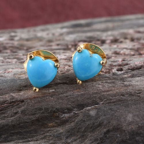 Arizona Sleeping Beauty Turquoise (Hrt) Stud Earrings (with Push Back) in 14K Gold Overlay Sterling Silver 1.000 Ct.