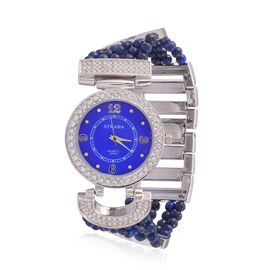 STRADA Japanese Movement Lapis Lazuli and Austrian Crystal Studded Watch