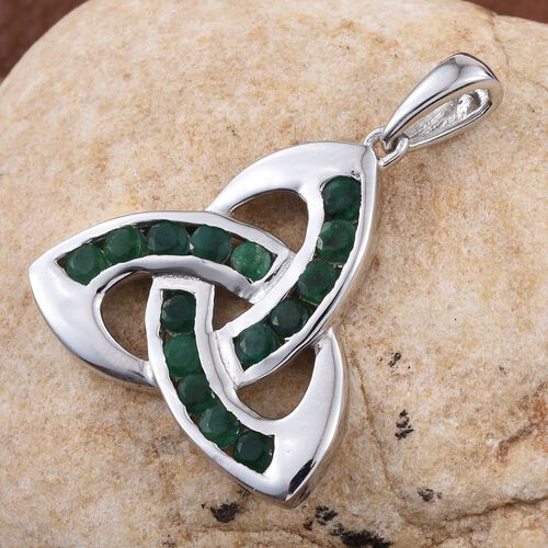 Brazilian Emerald (Rnd) Knot Pendant in Platinum Overlay Sterling Silver 1.250 Ct.