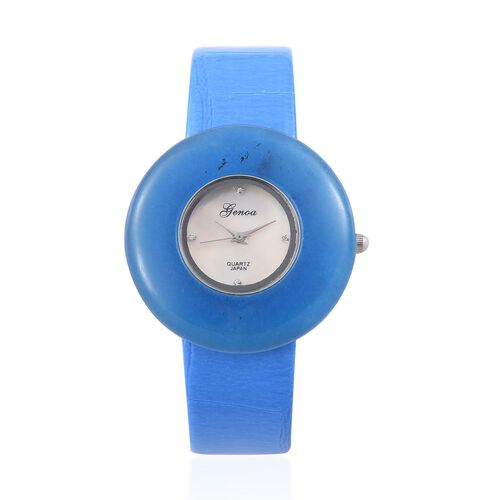 GENOA Japanese Movement Blue Quartzite, White Austrian Crystal Studded Water Resistant Watch  With Stainless Steel Back and Blue Strap