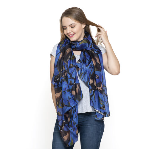100% Mulberry Silk Dark Blue and Multi Colour Abstract Pattern Printed Pareo (Size 180x100 Cm)
