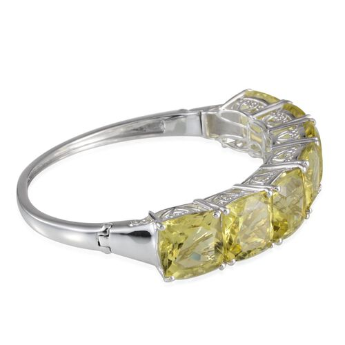 Brazilian Green Gold Quartz (Cush) Bangle (Size 7.5) in Platinum Overlay Sterling Silver 74.500 Ct.