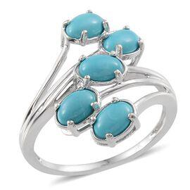 9K W Gold AAA Arizona Sleeping Beauty Turquoise (Ovl) 5 Stone Crossover Ring 1.500 Ct.