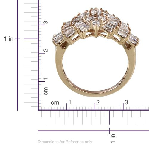 9K Y Gold (Rnd) Cluster Ring Made with SWAROVSKI ZIRCONIA