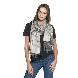 Festive - Silver and Grey  Floral Viscos Lurex Scarf (Size 180x100 Cm)