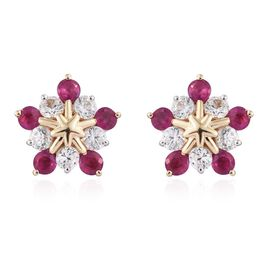 9K Y Gold Burmese Ruby (Rnd), Natural Cambodian Zircon Stud Earrings (with Push Back) 1.500 Ct.