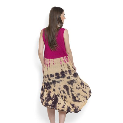 Floral Pattern Pink, Brown and Multi Colour Embroidered Poncho (Size 110 Cm)
