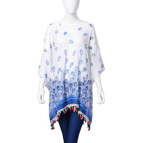 Blue, White and Multi Colour Peacock Feather Pattern Poncho with Tassels (Free Size)