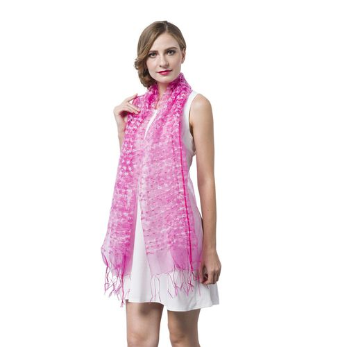 Pink and White Colour Small Tassel Flowers Embellished Scarf (Size 160X65 Cm)
