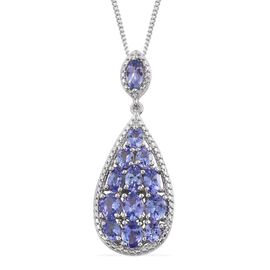 Tanzanite (3.00 Ct) Platinum Overlay Sterling Silver Pendant With Chain  3.000  Ct.