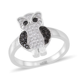 Boi Ploi Black Spinel (Rnd), Simulated White Diamond Owl Ring in Rhodium Plated Sterling Silver 1.000 Ct.