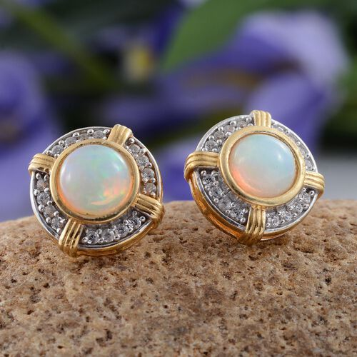 Ethiopian Welo Opal (Rnd), Natural Cambodian Zircon Stud Earrings (with Push Back) in 14K Gold Overlay Sterling Silver 2.250 Ct.