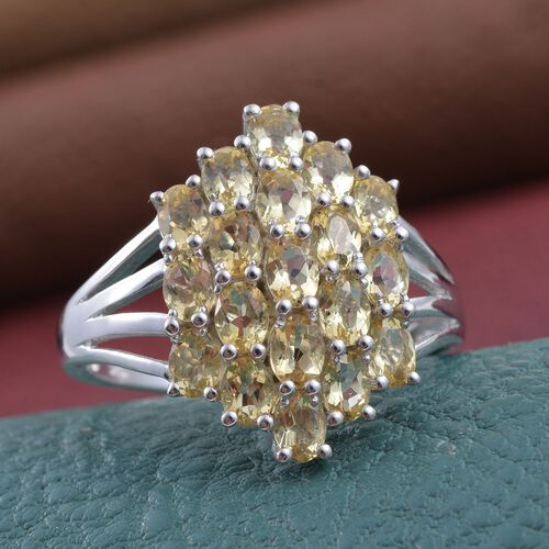 Marialite (Ovl) Cluster Ring in Platinum Overlay Sterling Silver 2.750 Ct.