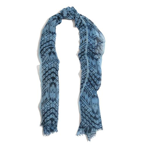 100%  Wool  Dark and Light Blue Colour Hand Block Printed Scarf (Size 185x75 Cm)