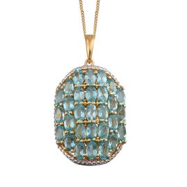 Paraibe Apatite (Ovl) Cluster Pendant With Chain in 14K Gold Overlay Sterling Silver 7.000 Ct.