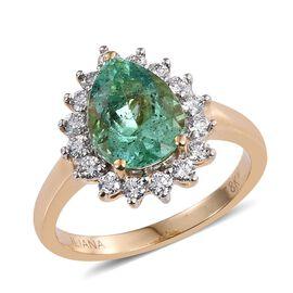 ILIANA 18K Y Gold Boyaca Colombian Emerald (Pear 2.50 Ct), Diamond Ring 3.000 Ct.
