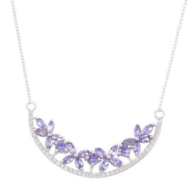 Designer Inspired-Tanzanite (Rnd), White Zircon Floral Necklace (Size 18) in Platinum Overlay Sterling Silver 4.250 Ct.