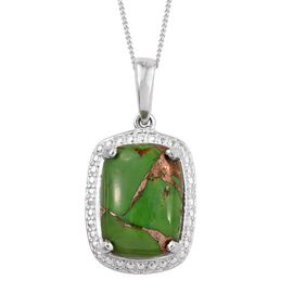 Green Turquoise (Cush) Solitaire Pendant With Chain in Sterling Silver 6.500 Ct.