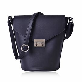 Greenwich Classic Structured Black Colour Messenger Bag with Adjustable Shoulder Strap ( Size 24.5x24x16x16 Cm)