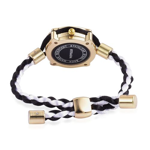 STRADA Japanese Movement Black Dial Water Resistant Adjustable Bracelet Watch in Gold Tone with Stainless Steel Back and Lace Strap