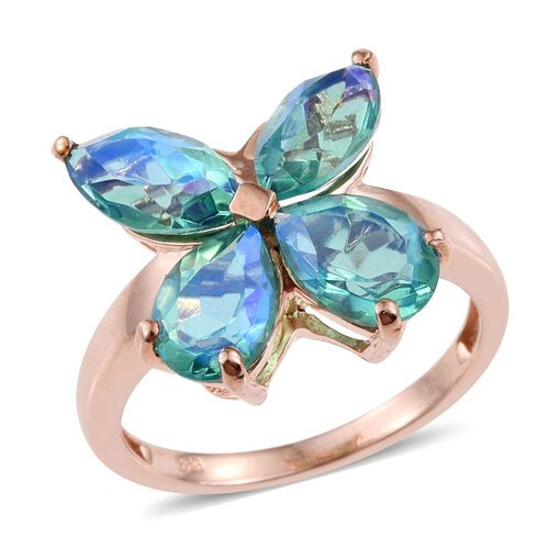 Peacock Quartz (Pear) Butterfly Ring in Rose Gold Overlay Sterling Silver 5.500 Ct.