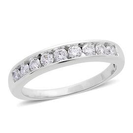 ILIANA 18K White Gold 0.50 Carat Diamond Half Eternity Ring SI G-H IGI Certified