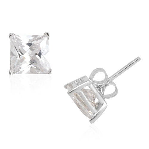 ELANZA AAA Simulated Diamond (Sqr) Stud Earrings (with Push Back) in Rhodium Plated Sterling Silver