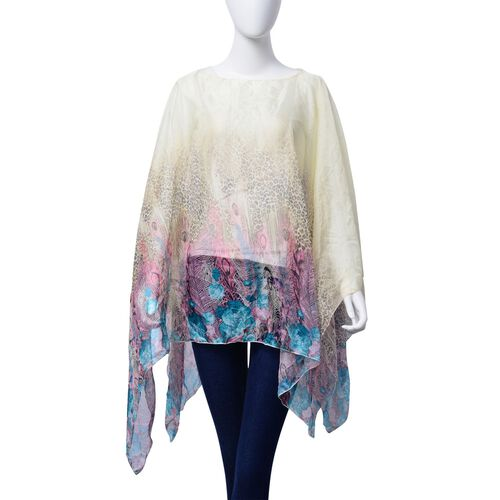 Pink and Multi Colour Leopard, Floral and Feather Pattern Yellow Colour Poncho (Size 135x70 Cm)