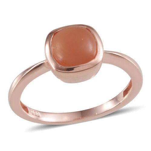 Mitiyagoda Peach Moonstone (Cush) Solitaire Ring in Rose Gold Overlay Sterling Silver 2.500 Ct.