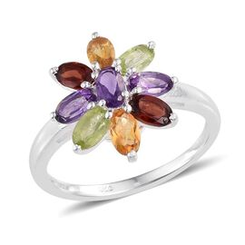 Amethyst (Ovl), Hebei Peridot, Mozambique Garnet and Citrine Floral Ring in Sterling Silver 2.000 Ct.