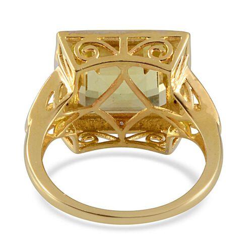 Brazilian Green Gold Quartz (Sqr 5.40 Ct), Diamond Ring in 14K Gold Overlay Sterling Silver 5.430 Ct.