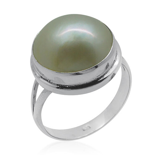 Royal Bali Collection Mabe White Pearl (Rnd) Solitaire Ring in Sterling Silver 5.000 Ct.