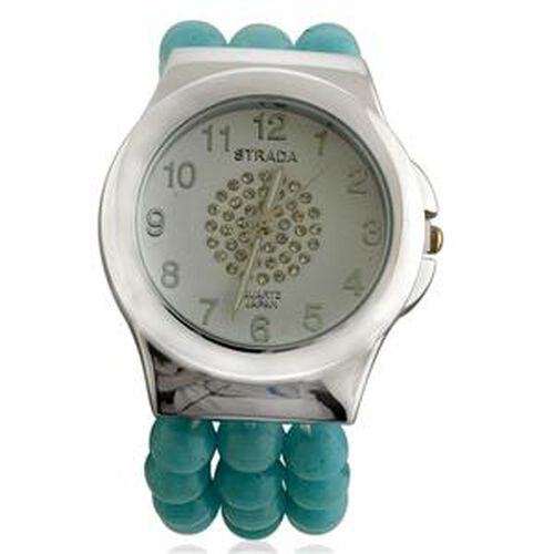 STRADA Japanese Movement Amazonite and White Austrian Crystal Watch  60.010  Ct.
