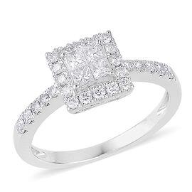 RHAPSODY 950 Platinum IGI Certified Diamond (Sqr) (VVS-VS/E-F) Ring 0.500 Ct.