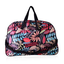 Winter Leaves Print Large Weekend Carryall Bag with Front Compartment and Shoulder Strap(Size 48x31x13 Cm)